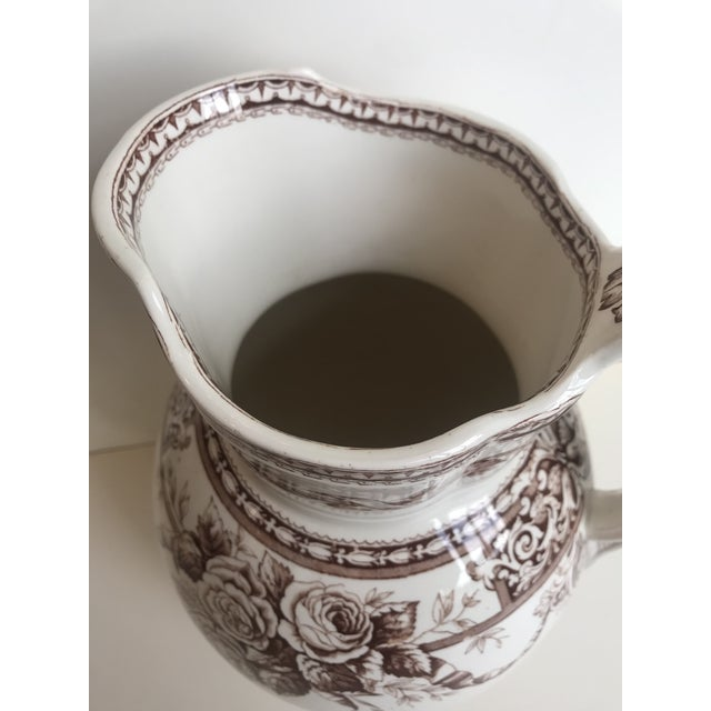 English Traditional 19th Century Large Scale Floral Ribbon English Ironstone Pitcher For Sale - Image 3 of 8
