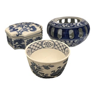 Blue & White Ginger Jar Containers - Set of 3