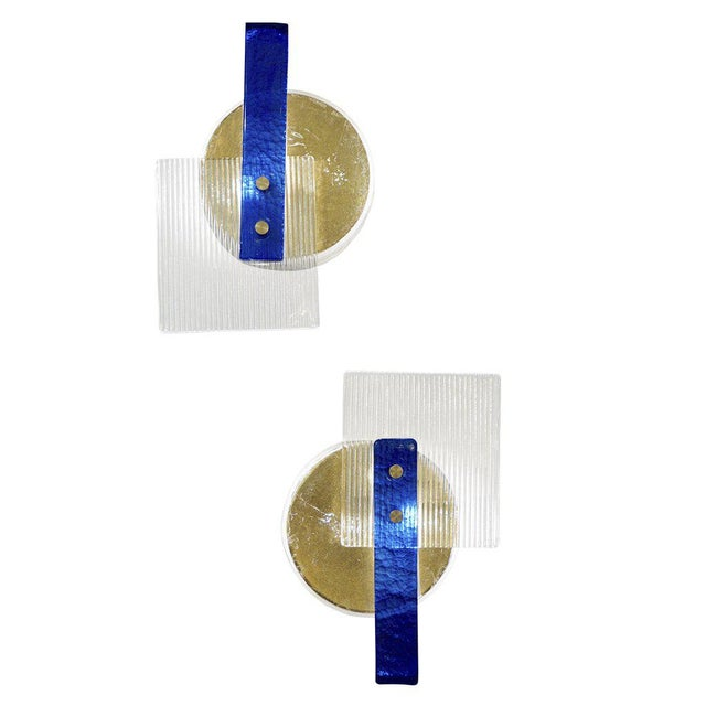 White Italian Abstract Modern Gold Silver and Crystal Murano Glass Sconces - a Pair For Sale - Image 8 of 8