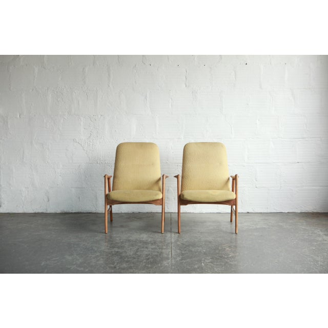 Yellow Vintage Mid Century Alf Svensson Highback Lounge Chairs- A Pair For Sale - Image 8 of 8
