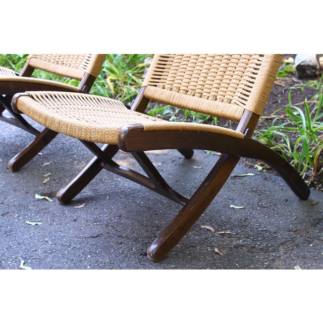 Brass Hans Wegner Style Rope Chairs & Stools - A Pair For Sale - Image 7 of 11