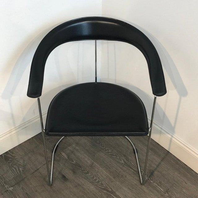 Metal Five Italian Chrome and Black Leather Cantilever Armchairs, Handmade by Frag For Sale - Image 7 of 13