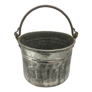 Vintage Hand Hammered Tinned Copper Pail For Sale
