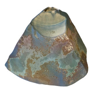 Signed Tony Evans Raku Sculptural Vase For Sale