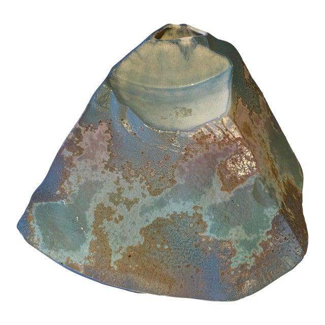 Signed Tony Evans Raku Sculptural Vase For Sale