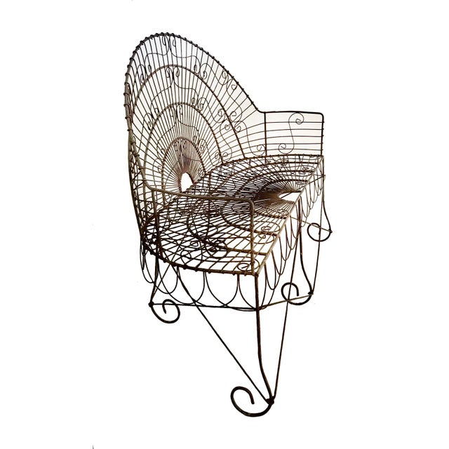 French Late 19th Century French Wire Iron Garden Bench For Sale - Image 3 of 10