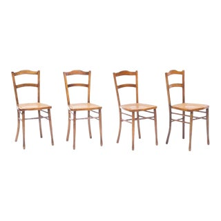 Antique French Bistro Chairs - Set of 4 For Sale