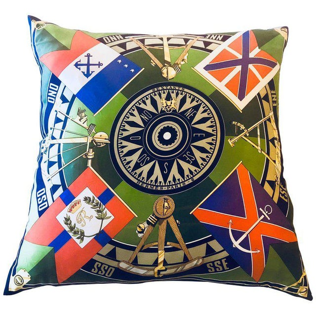 Enormous Hollywood Regency Style Hermes 'Sextants' Silk Stuffed Pillow For Sale - Image 11 of 11