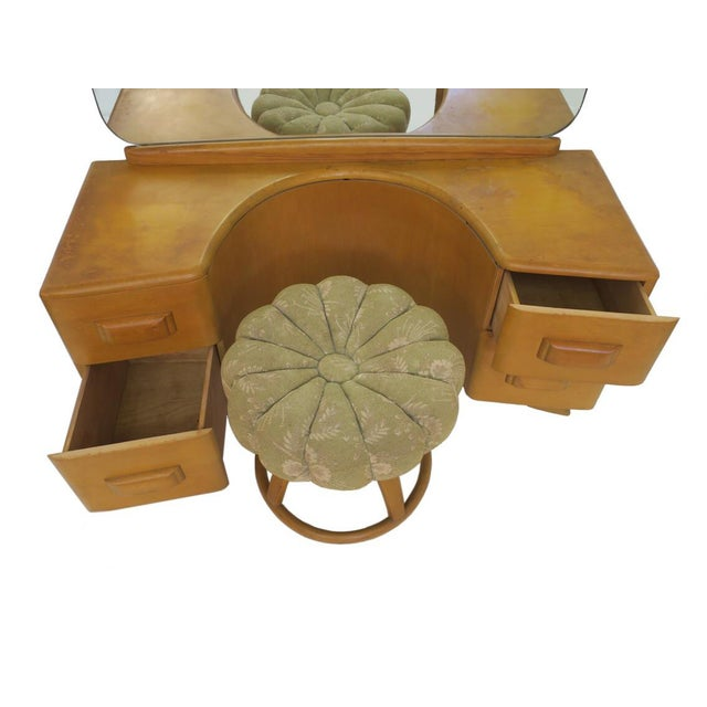 Art Deco Vintage Mid Century Heywood Wakefield Riviera Vanity With Mirror & Pouff For Sale - Image 3 of 12