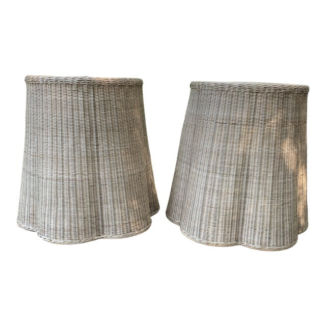 Trompe l'Oeil Round Top Draped Rattan Tables - a Pair For Sale