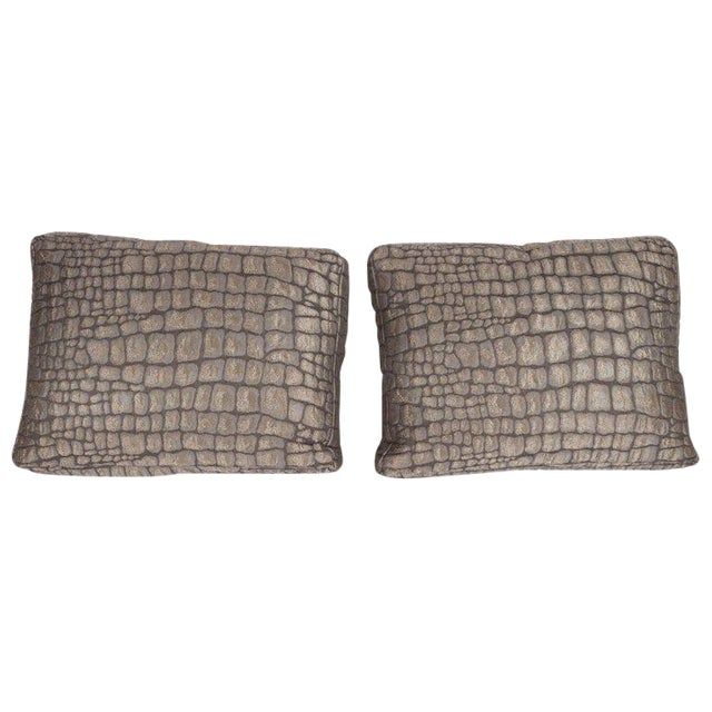 Pair of Gauffraged Crocodile Fabric Pillows in Metallic Antique Bronze Hue For Sale