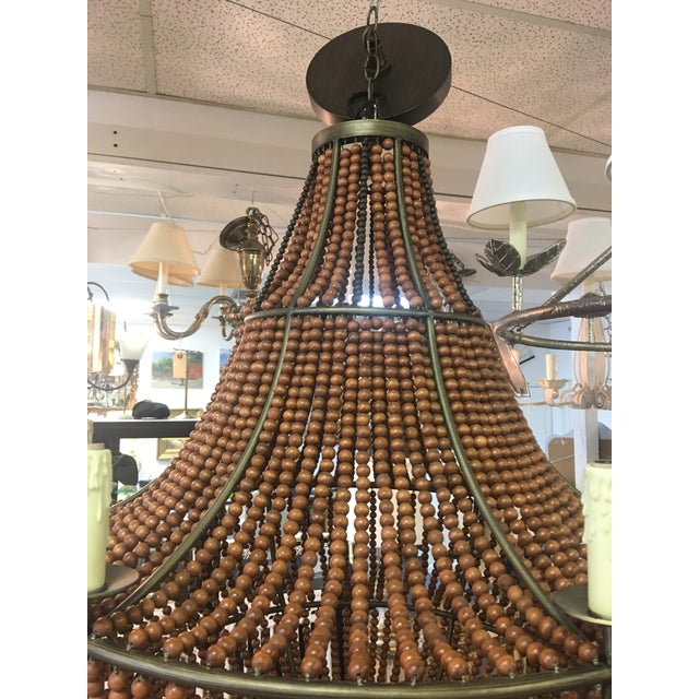 1960s Mid Century Modern Wood Beaded Chandelier For Sale - Image 4 of 8