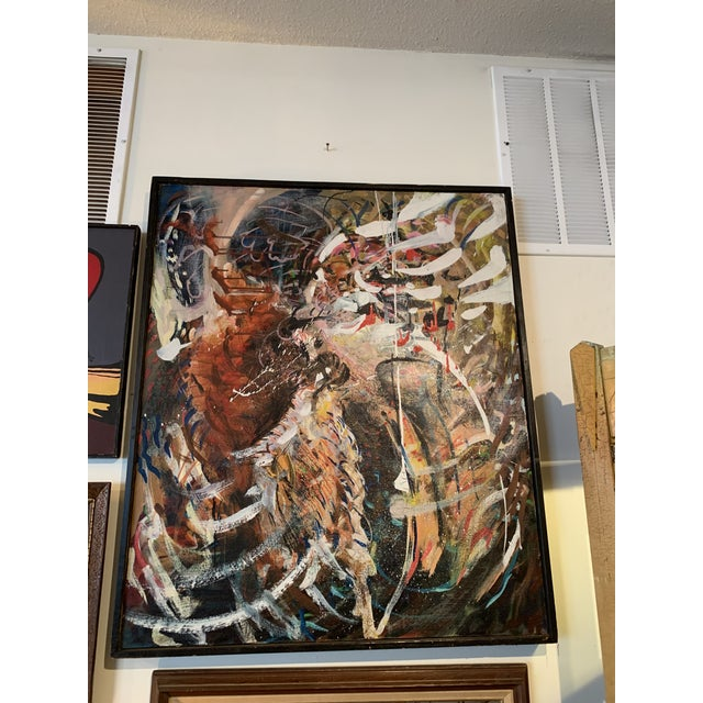 1970s Large Abstract Expressionist Painting For Sale - Image 5 of 5