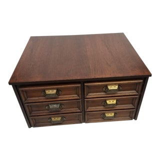 Vintage 19th Century Campaign Style Mahogany Desk Top/6 Drawer Letter File Chest For Sale