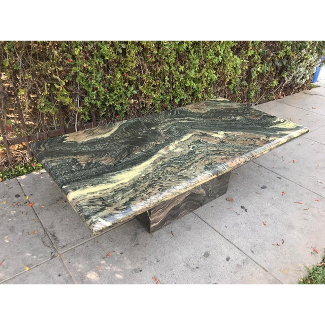 1970s Organic Modern Solid Black & Cream Marble Coffee Table For Sale - Image 10 of 10