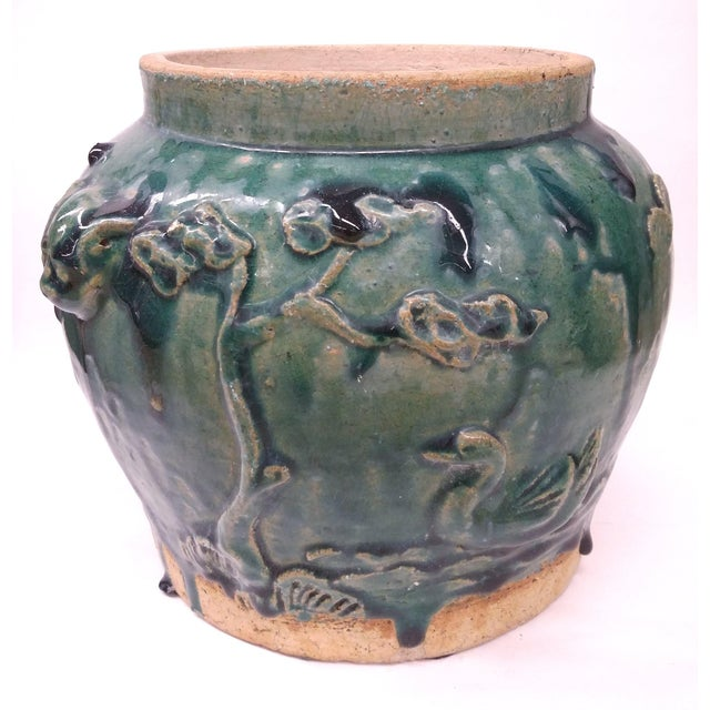 Asian Style Heavy Clay Drip Glaze Teal Planter - Image 7 of 7