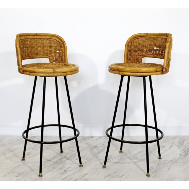1960s Mid Century Modern Danny Ho Fong Set 4 Bamboo Rattan Iron Swivel Barstools 1960s For Sale - Image 5 of 8