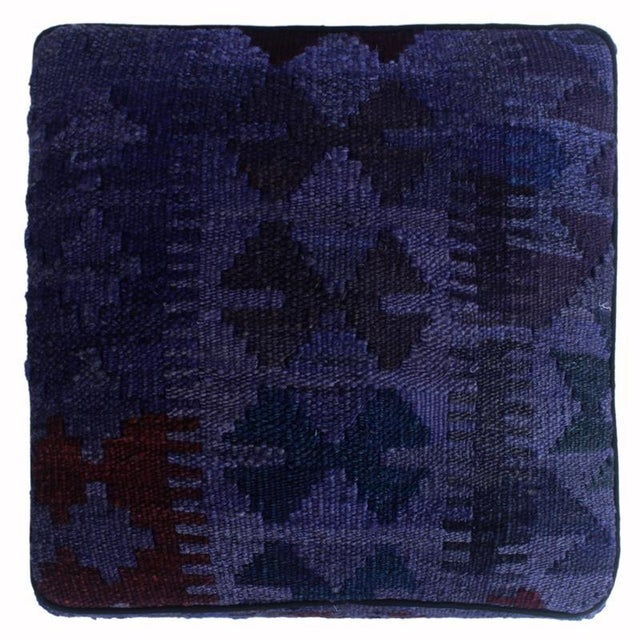 2010s Arshs Delta Purple/Drk. Gray Kilim Upholstered Handmade Ottoman For Sale - Image 5 of 8