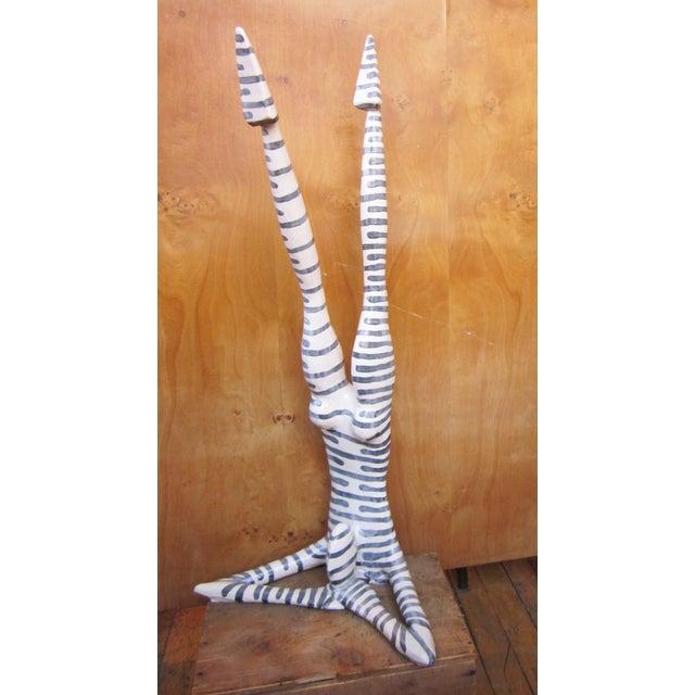 "Original Studio Art Postmodern Ceramic ""Acrobat"" Blue Striped Biomorphic Form Figural Sculpture by Jack Charney For Sale - Image 4 of 13"