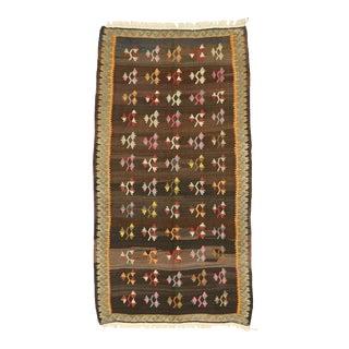 Vintage Flat-Weave Turkish Floral Kilim Rug - 04'11 X 09'00 For Sale