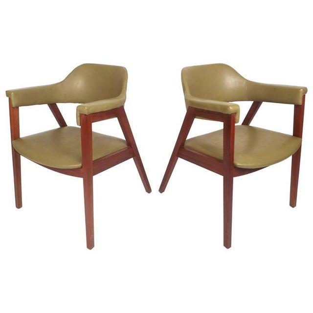 Mid-Century Modern Mid-Century Modern Vinyl Barrel Back Chairs For Sale - Image 3 of 10