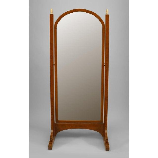 1930s Art Deco Amboyna Cheval Mirror For Sale - Image 5 of 5