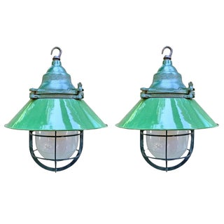 Pair of American Industrial Enamel Pendant Light Fixtures For Sale