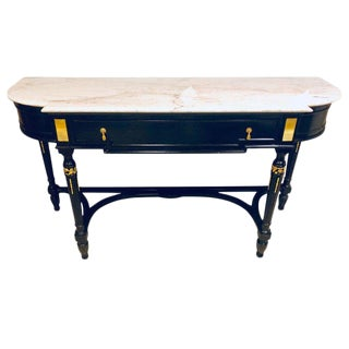 Palatial Ebony Louis XVI Style Marble-Top Ebony Console or Sideboard Server For Sale
