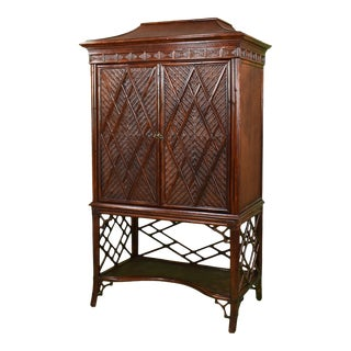 Woven Rattan Pagoda Cabinet For Sale
