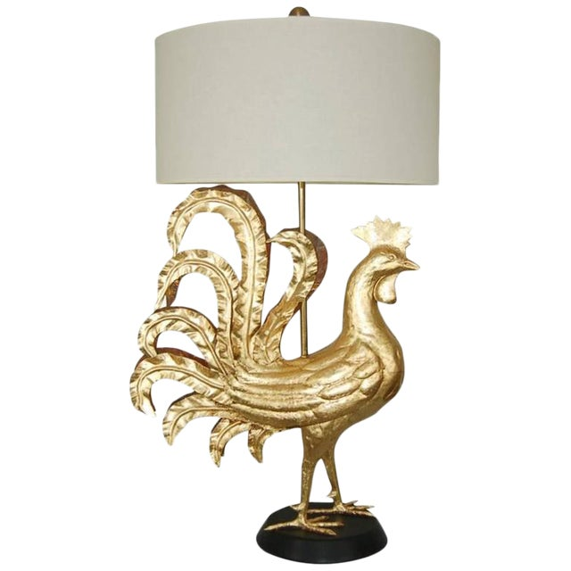 Marbro Italian Metal Rooster Table Lamp Gold For Sale - Image 11 of 11