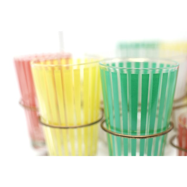 Vintage MCM Pastel Stripes Cocktail and Shot Glasses Barware With Ice Bucket and Brass Caddy - Set of 14 For Sale - Image 10 of 13
