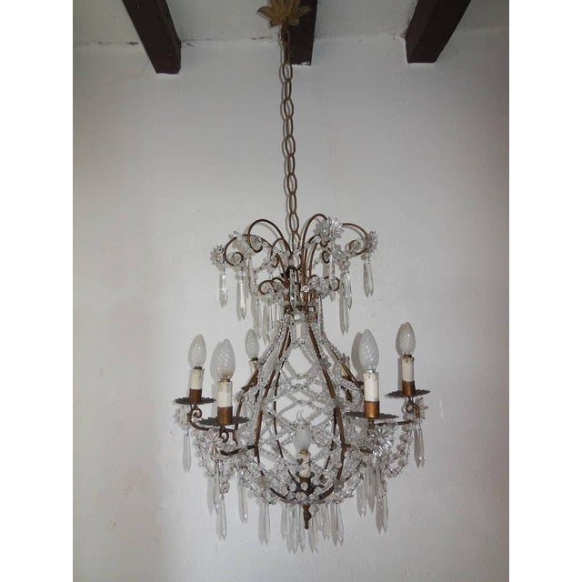 French Beaded Balloon Crystal Chandelier, circa 1940 For Sale - Image 11 of 11