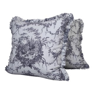 "Custom Made ""Waverly"" Linen French Print Throw Pillows- a Pair For Sale"