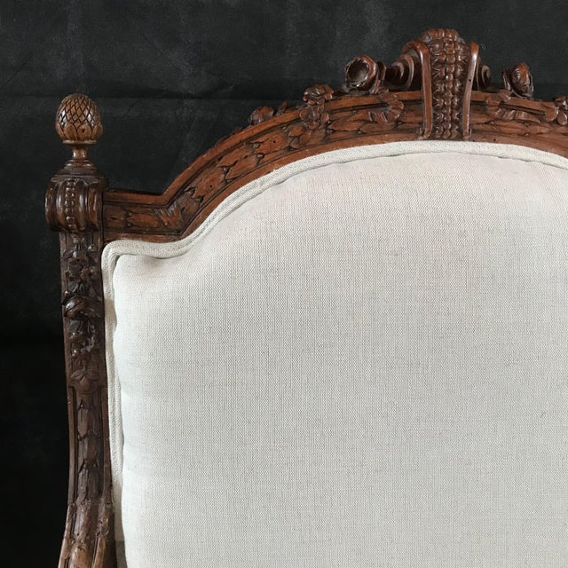 French Carved Walnut Armchairs - a Pair For Sale - Image 10 of 11