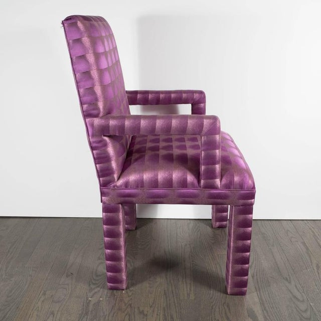 Fabric Mid-Century Modernist Eight Dining Chairs in Amethyst and Violet Bergamo Fabric For Sale - Image 7 of 9