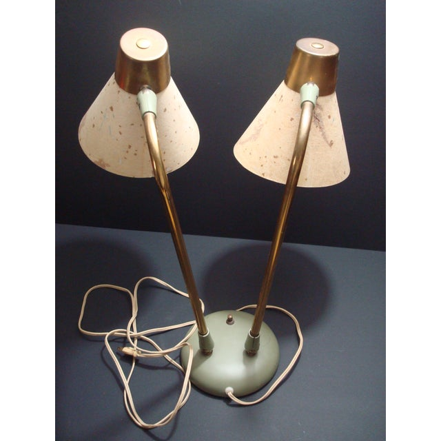 Industrial Adjustable Desk Lamp With Leaf Shades - Image 3 of 5