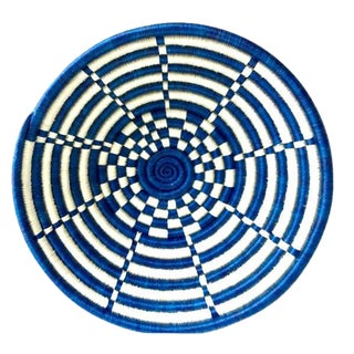 Blue & White Woven African Basket For Sale
