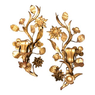 1960s Vintage Italian Hollywood Regency Gold Gilt Candle Sconces - a Pair For Sale