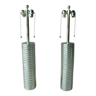 Large 1970s Laurel Towering Chrome Steel Lamps With Chromed Steel Shades - a Pair For Sale