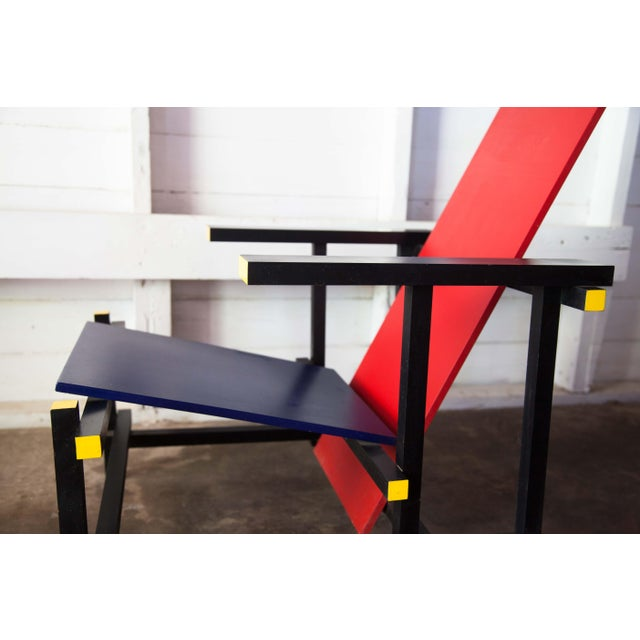 Modern Red & Blue Lounge Chair For Sale - Image 4 of 11