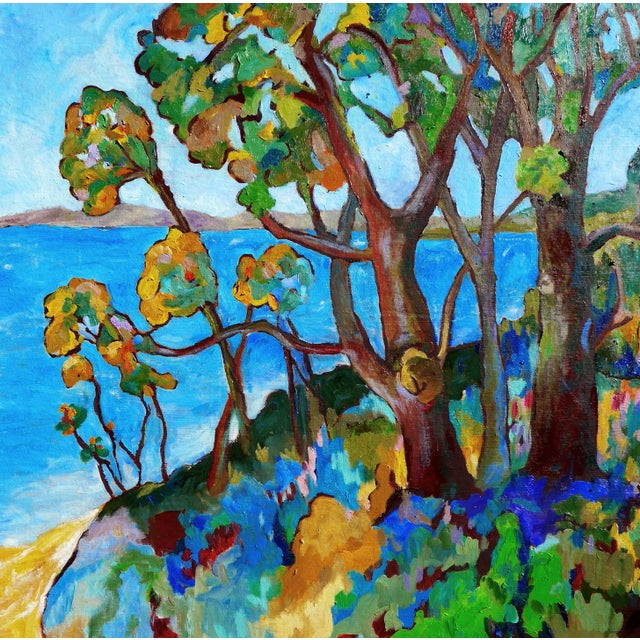 This is a happy and bright oil on canvas painting, painted in plein air in the hills of Santa Barbara overlooking the...