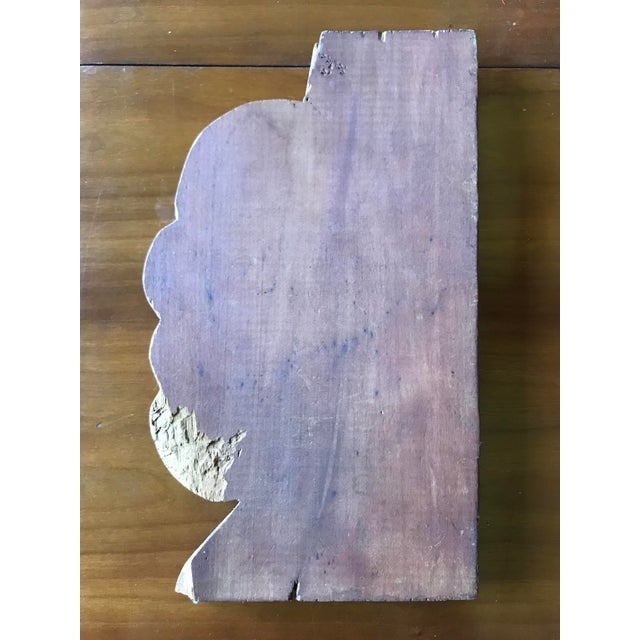 Wood Folk Art Relief Carving of a Woman For Sale - Image 7 of 9