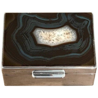 French Art Deco Agate and Silver Plate Table Box For Sale