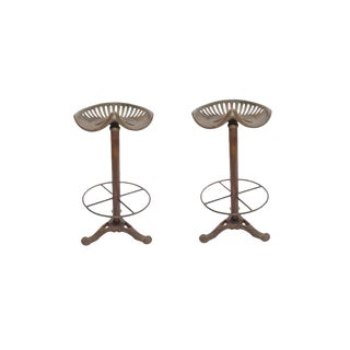 "Set of 2 Dennis Tractor Bar Stool Kitchen Counter Stool, Rustic Home Furniture, 31"" H For Sale"