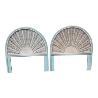 Boho Chic Wicker and Pencil Reed Arched Twin Headboards - a Pair For Sale