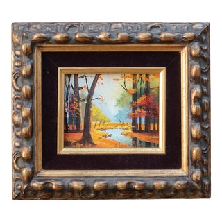 1960s Miniature Landscape Oil Painting by Beaumont, Framed For Sale