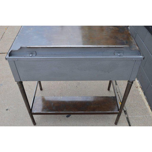 Mid-Century Simmons Steel Desk with Steel Chair Labelled Physicians' Nurses' For Sale - Image 9 of 10