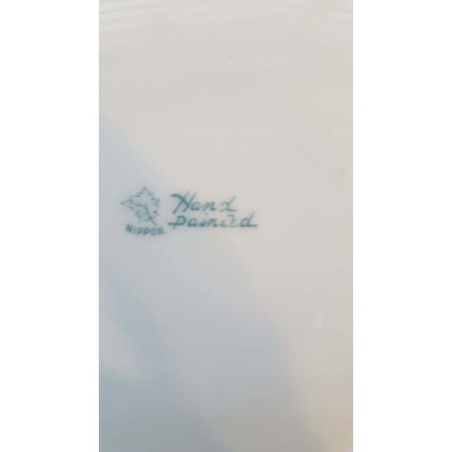 Art Nouveau Antique Nippon Signed Colbalt Blue & Gold Gilted Porcelain Collector Plate For Sale - Image 3 of 5