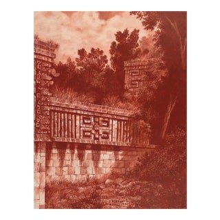 "Illustration of Mayan Ruins, ""Habitat Maya No.3"" For Sale"