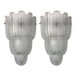"French Art Deco ""Waterfall"" Sconces Signed by Sabino - A Pair For Sale"